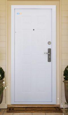Bezpečnostné dvere TerraSec exteriérové biele- s Classic Line vzorom, s hodvábnym leskom
