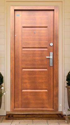 Bezpečnostné dvere zlatý dub TerraSec so vzorom Luxury Line, s hodvábnym leskom