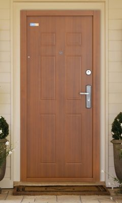 Bezpečnostné dvere zlatý dub TerraSec so vzorom Classic Line, s hodvábnym leskom