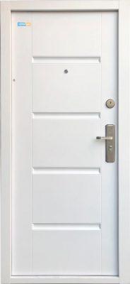 Bezpečnostné dvere biele TerraSec so vzorom Luxury Line, s hodvábnym leskom