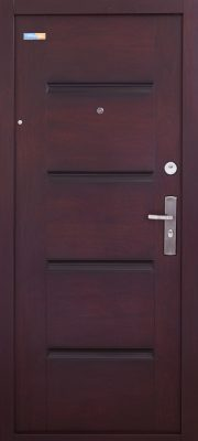 Tmavé Cherry TerraSec bezpečnostné dvere s Luxury Line vzorom, s hodvábnym leskom
