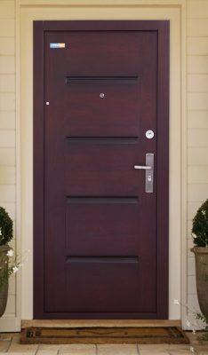 Bezpečnostné dvere TerraSec exteriérové Tmavá čerešňa- s Luxury Line vzorom, s hodvábnym leskom